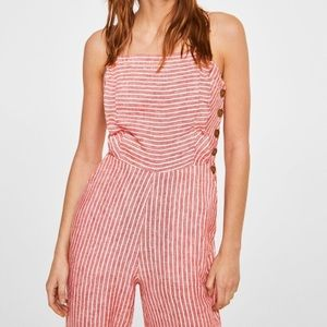Thin Strap Striped  Ruffle Front Jumpsuit